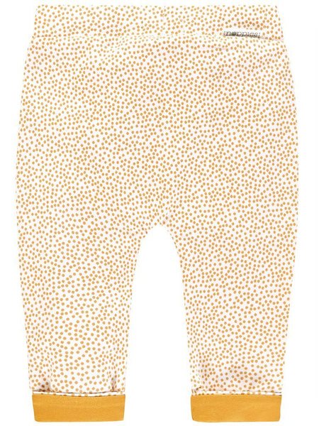 Organic Cotton Tiny Baby Trousers - White & Mustard Spots (4-7lb)