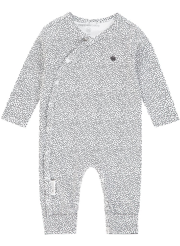 Footless Sleepsuit - White With Black Spots (Tiny Baby, 4-7lb)