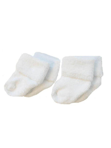Tiny Baby Socks - White Terry Towelling
