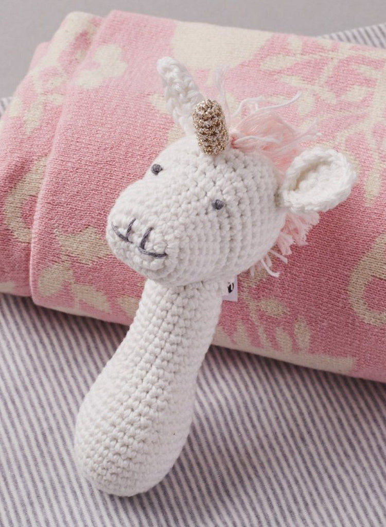 Chrochet Unicorn Rattle - rattle - Albetta UK - Little Mouse Baby Clothing & Gifts