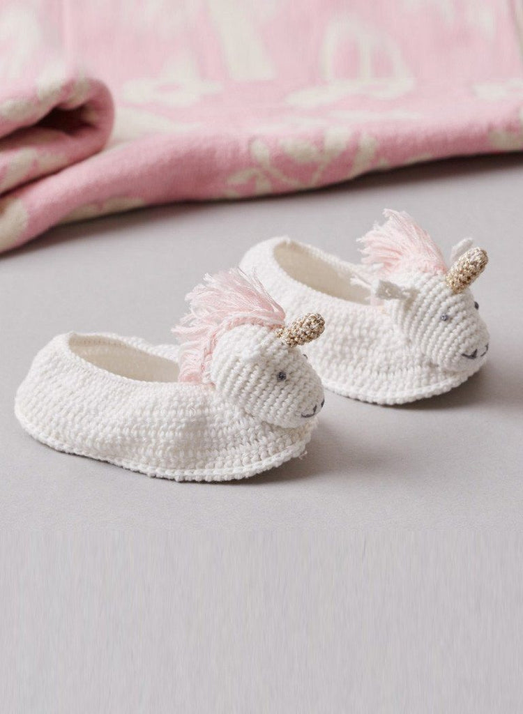 Crochet Unicorn Booties, 0-6 months - Booties - Albetta UK - Little Mouse Baby Clothing & Gifts