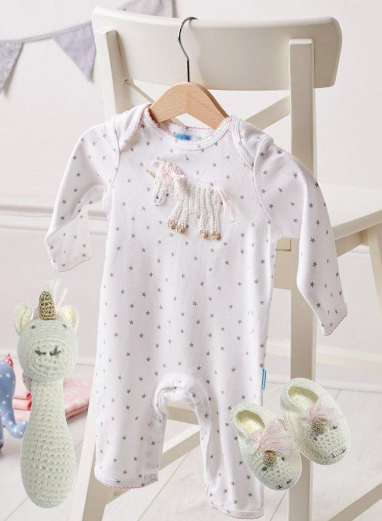 Unicorn Babygrow, Rattle & Booties (0-3 Months)
