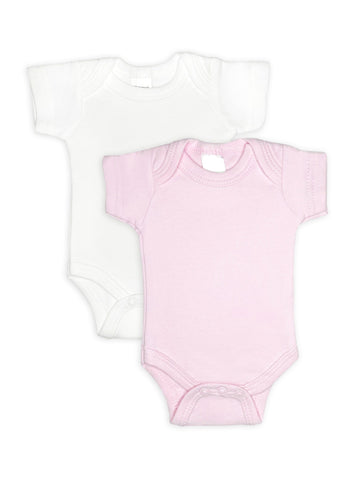2 Pack - 100% Cotton Pink & White Short Sleeved Bodysuits (Tiny Baby, 4-7lb)