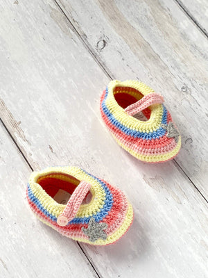 Crochet Rainbow Star Booties (0-6 Months)