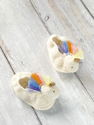 Crochet Pastel Rainbow Unicorn Booties (0-6 Months)