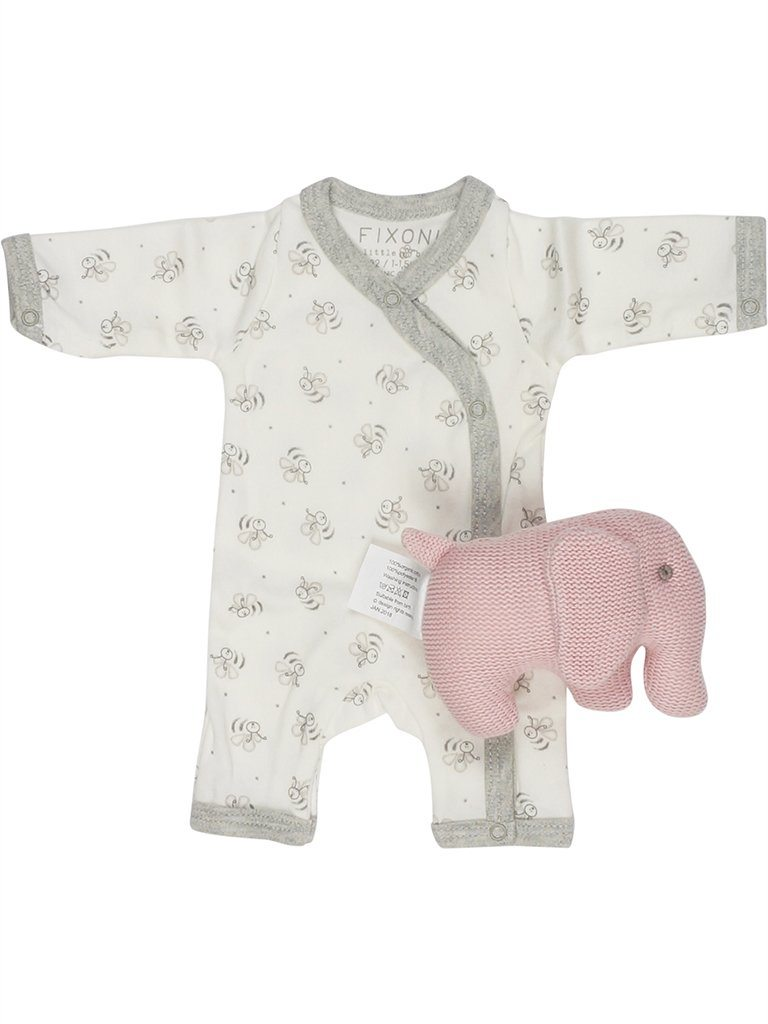 Organic Cotton White Bee Sleepsuit & Pink Elephant Set (3 sizes)