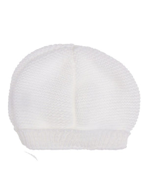Cotton Knit Tiny Baby Hat (White 6-9lbs)
