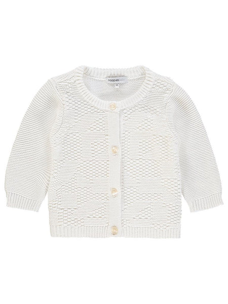 Organic Cotton Knitted Cardigan - White (4-7lb)