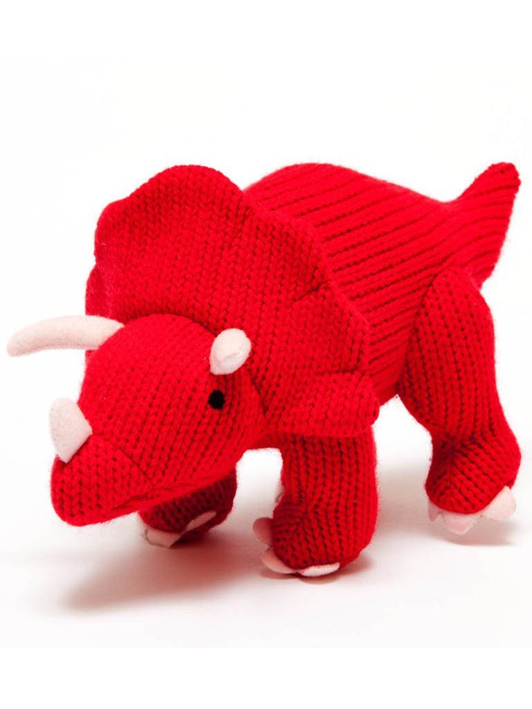 Knitted Triceratops Rattle, Red