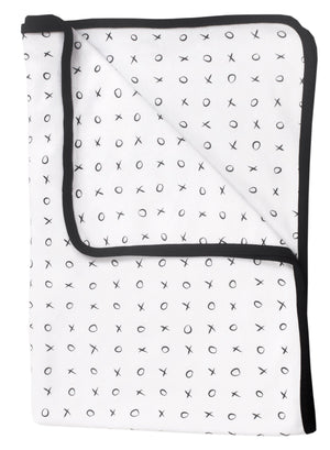 XO Print Blanket with Contrast Trim, Black & White (120x80cm)