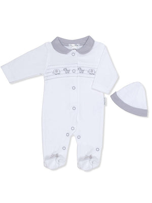 White & Grey Sleepsuit and Hat 3-5lbs & 5-8lbs