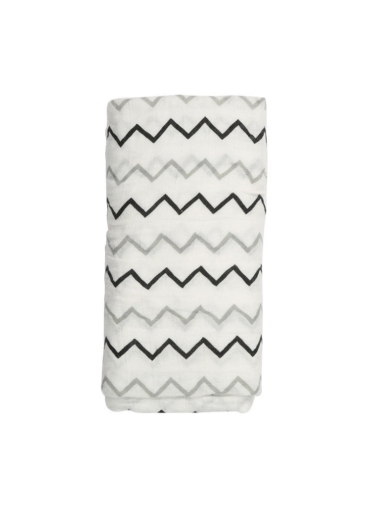 Large Trendy Muslin Swaddle Blanket - Chevron
