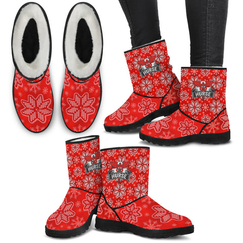 Red Caduceus Christmas Knit - Faux Fur Boots - Boots - Epic Goodies Shop