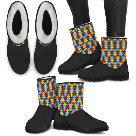 Autism Awareness Faux Fur Boots - Womens - Boots - Epic Goodies Shop