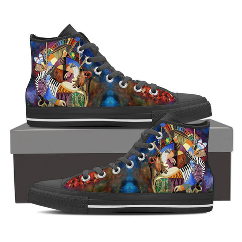 Music Stained Glass - High Top Shoes