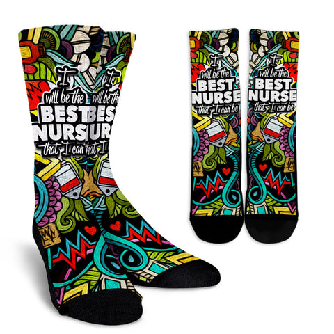 Best Nurse - Crew Socks - socks - Epic Goodies Shop