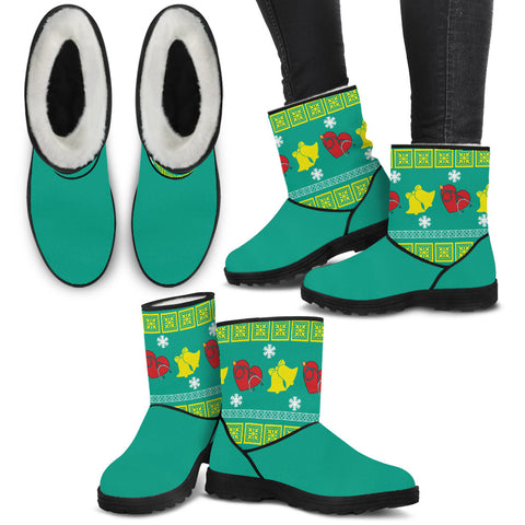 Medical Teal Christmas Knit - Faux Fur Boots - Boots - Epic Goodies Shop