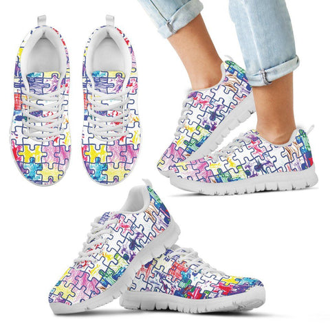 Autism Paint on Jigsaw - Kid's Sneakers - Shoes - Epic Goodies Shop