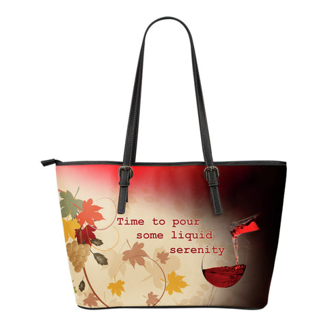 Wine Liquid Serenity - Small Leather Totes