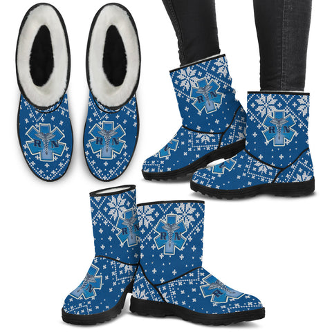 Medical Rescue Christmas Knit - Faux Fur Boots - Boots - Epic Goodies Shop