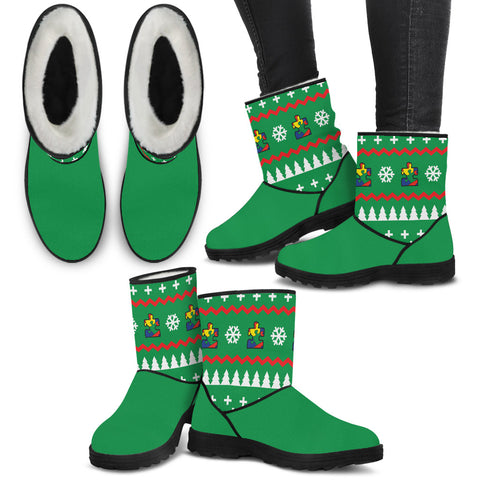Autism Knit Pine Green - Faux Fur Boots - Boots - Epic Goodies Shop