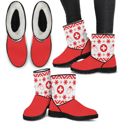 Medical Alert Christmas Knit - Faux Fur Boots - Boots - Epic Goodies Shop