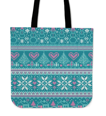 Christmas Knit Hearts - Tote Bag - Bags - Epic Goodies Shop