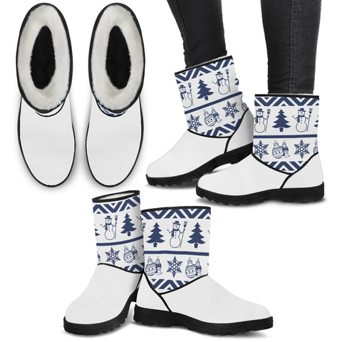 Christmas Snowman Blues - Faux Fur Boots - Boots - Epic Goodies Shop