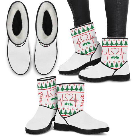 Medical Lifeline Christmas Knit - Faux Fur Boots - Boots - Epic Goodies Shop