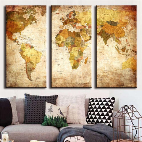 Limited Edition World Map Canvas Painting