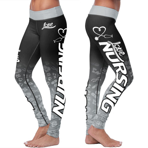Love Nursing Black Leggings - Leggings - Epic Goodies Shop