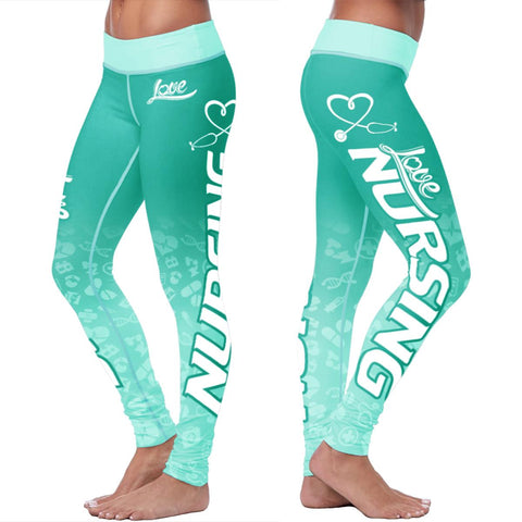 Love Nursing Teal Leggings - Leggings - Epic Goodies Shop