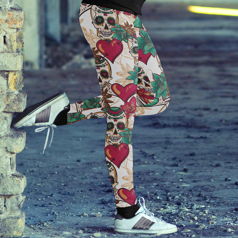 Red Hearts and Sugar Skull Leggings