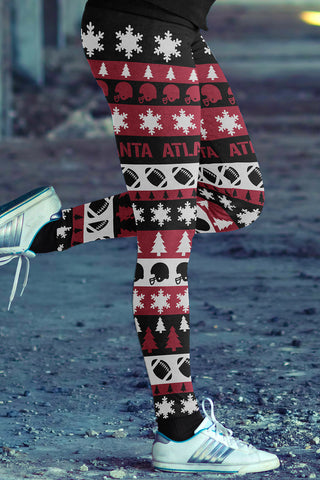 Atlanta Ugly Christmas Classic Football Leggings - Leggings - Epic Goodies Shop