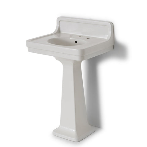 "Alden Fine Fire Clay / Vitreous China Single Pedestal Lavatory Sink 26"" x 20"" x 40"" with Backsplash"