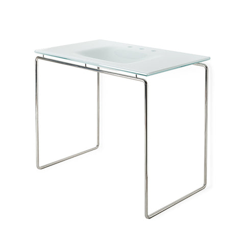 "Formwork Single Washstand Packaged with White Glass Counter Sink Top with Three Holes 42"" x 25"" x 34"""