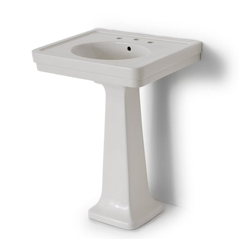 "Alden Fine Fire Clay / Vitreous China Single Pedestal Lavatory Sink 28"" x 22"" x 34"""