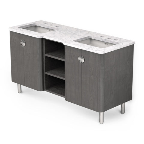 "Garret Double Vanity Packaged with Slab Top and Sinks 60"" x 22"" x 32 3/4"""