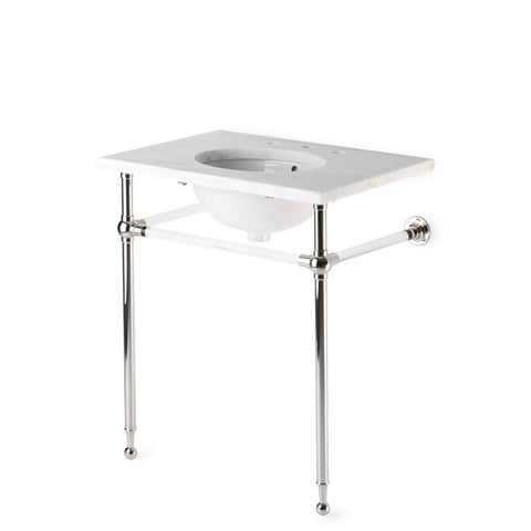 "Crystal Round Two Leg Single Washstand Packaged with Sink and Slab Top 30"" x 21"" x 34"""