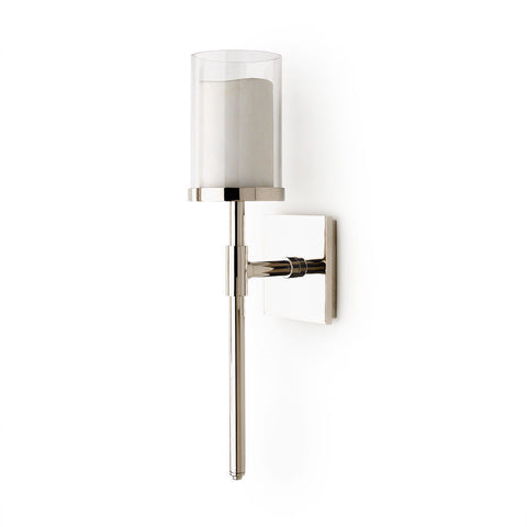 Sargent Wall Mounted Single Arm Sconce with Glass and Porcelain Shade