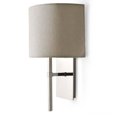 Spence Wall Mounted Single Arm Sconce with Fabric Half Shade