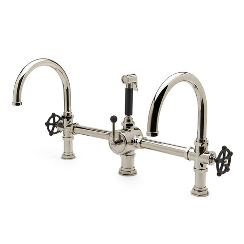 Regulator Gooseneck Double Spout Marquee Kitchen Faucet, Matte Black Wheel Handles and Spray