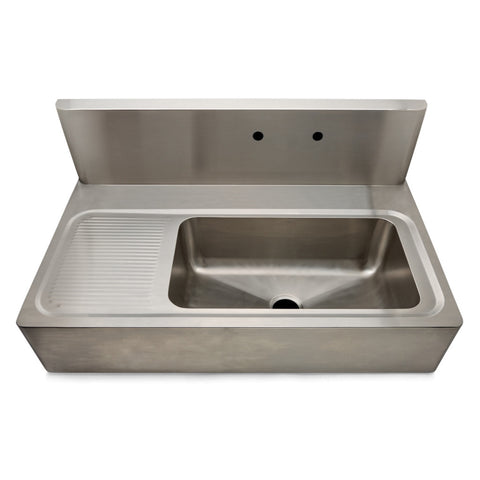 "Kerr 48"" x 27 1/8"" x 22"" Stainless Steel Farmhouse Apron Kitchen Sink with Center Drain, Backsplash and Drainboard"
