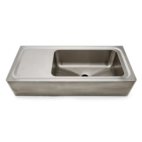 "Kerr 48"" x 21"" x 10 1/4"" Stainless Steel Farmhouse Apron Kitchen Sink with Center Drain and Drainboard"
