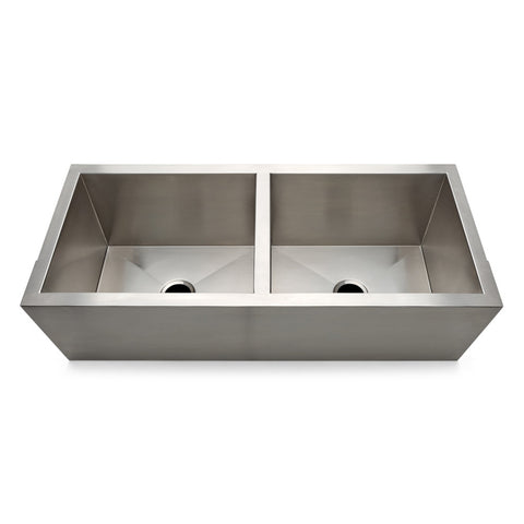 "Kerr 47 11/16"" x 21"" x 14 5/8"" Twin Stainless Steel Ranchhouse Apron Kitchen Sink with Center Drains"