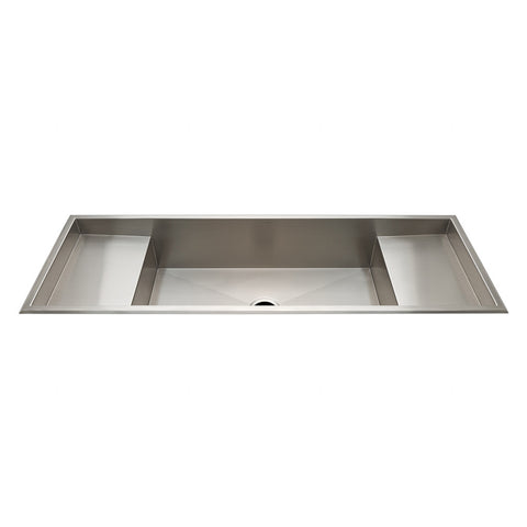 "Kerr 57 3/8"" x 19 3/8"" x 10"" Stainless Steel Kitchen Sink with Center Drain and Workspace"
