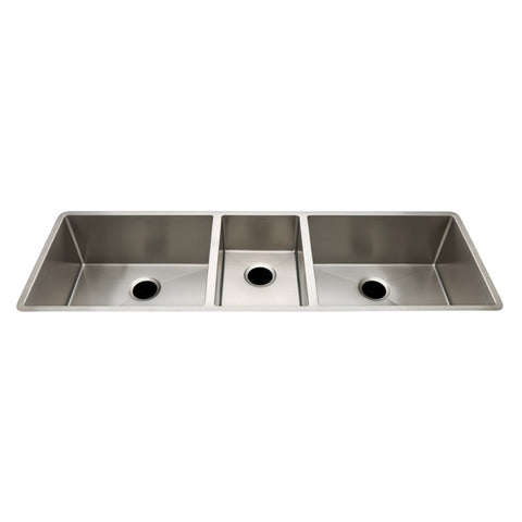 "Kerr 57 1/8"" x 18 1/4"" x 10"" Triple Stainless Steel Kitchen Sink with Rear Drains"