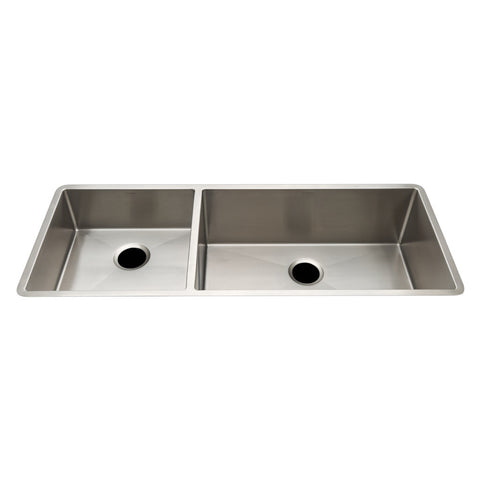 "Kerr 46 7/16"" x 18 1/4"" x 10"" Double Stainless Steel Kitchen Sink with Rear Drains"