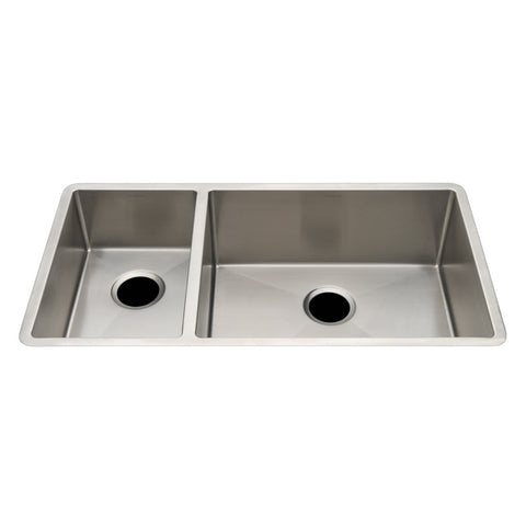 "Kerr 34 1/4"" x 18 1/4"" x 8 5/8"" Double Stainless Steel Kitchen Sink with Rear Drains"