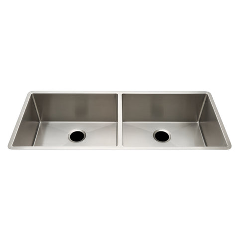 "Kerr 45 1/4"" x 18 3/4"" x 10"" Twin Stainless Steel Kitchen Sink with Rear Drains"